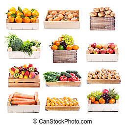 set of various fruits and vegetables