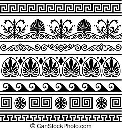Collection of vector antique greek border ornaments. Elements isolated on white. Full scalable vector graphic, change colors as you like, included 300 dpi JPG.