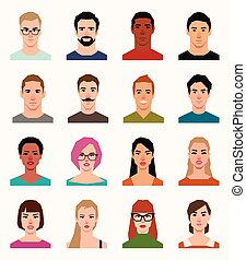 Set of vector avatars of men in a flat style
