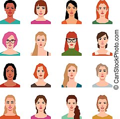 Set of vector avatars of women in a flat style