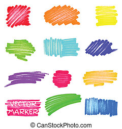 Set of vector colored marker spots for your design