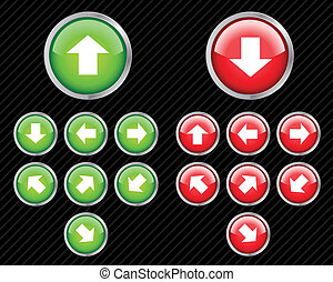 Set of vector direction buttons with arrows. Easy to edit, any size. Aqua web 2.0 style.