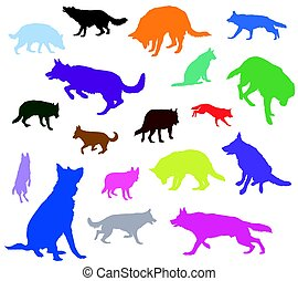 Set of vector dogs in different colors