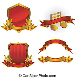 Set of red vector emblems and banners. Isolated on white. EPS 8, AI, JPEG