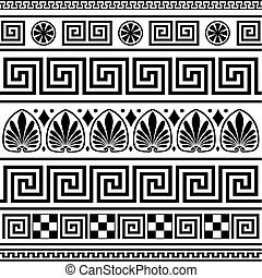 Set of vector greek borders, full scalable vector graphic. Elements isolated on white.