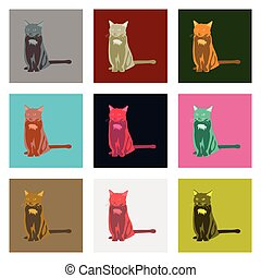 Set of vector illustration in flat style cat