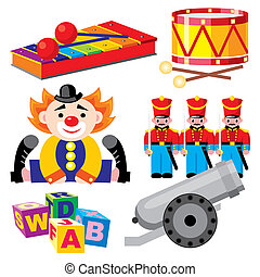set of vector images of children's toys for boys