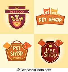 Set of vector logos for pet shop, hotel.