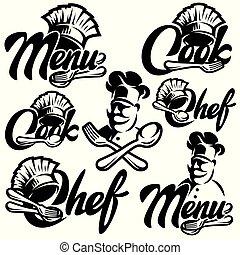 Set of vector monochrome templates for menu with chef, fork, spoon