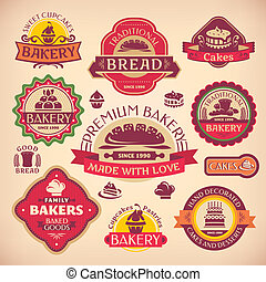 Set of vector vintage various bakery labels
