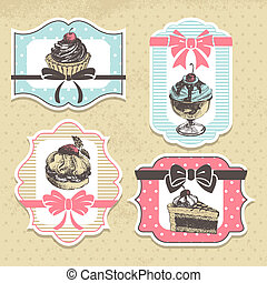 Set of vintage bakery labels. Vintage frames with sweet cupcakes