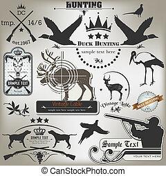 Vector image Set of vintage labels on hunting