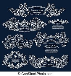Set of Vintage Victorian ornaments. Wedding design.