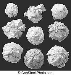 set of white crumpled paper background texture on dark
