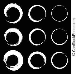 Set of White Grunge Circle Stains