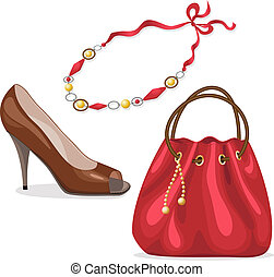 Handbag, shoe and necklace in red colors isolated on white.