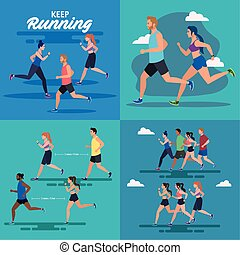 set scenes of jogging people, people running