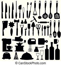 Set silhouette kitchen utensils
