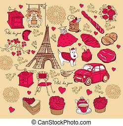 Set symbols of Paris. Hand drawing