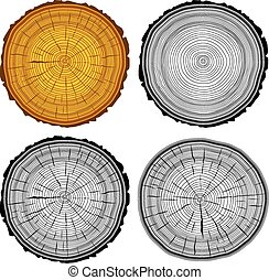 Set tree rings saw cut tree trunk background. Vector illustration.