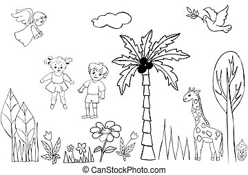 Seth coconut tree, boy, little girl, little dove, pigeon, flowers, trees, grass.