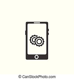 Setting icon vector on smartphone screen.