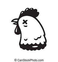 Severed chicken head