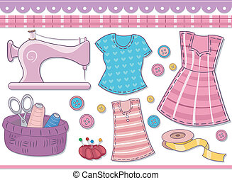 Sewing Scrapbooking Elements