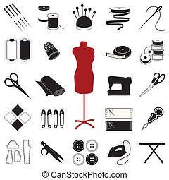 Icons for sewing, tailoring, dressmaking, needlework, quilting, darning, textile arts, crafts & do it yourself projects.