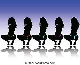 sexy girls in tanga vector silhouettes