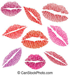 Illustration of sexy lipstick kiss on a white background.