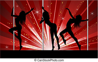 Silhouettes of sexy females pole dancing