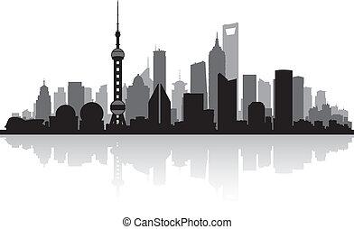 Shanghai China city skyline vector silhouette illustration