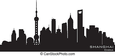 Shanghai China skyline Detailed vector silhouette
