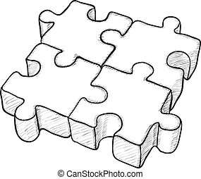 Shaped monochrome vector eps8 drawing - puzzle elements