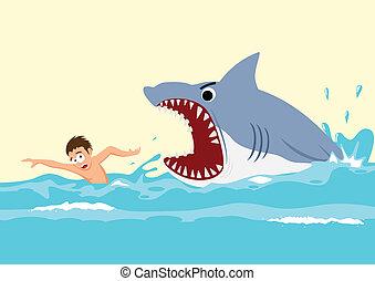 Cartoon illustration of a man avoiding shark attacks