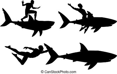 Editable vector silhouettes of a man riding a shark with men and sharks as separate objects