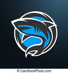 Shark sport logo on a dark background.
