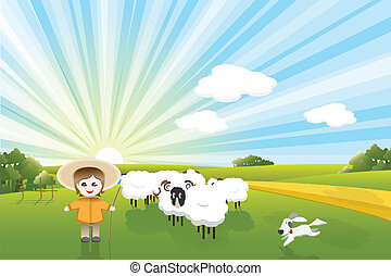 illustration, sheeps shepherd and dog on background solar sky