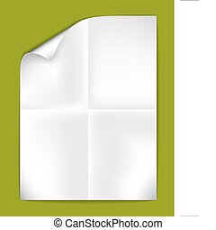 Sheet of folded white paper on a green background (vector illustration)