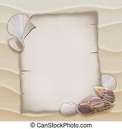 Shells and blank paper sheet. Vector illustration