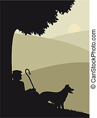 A silhouette of a shepherd and his dog.