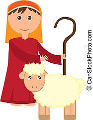 Shepherd boy with sheep isolated over white background. vector