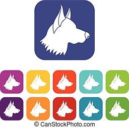 Shepherd dog icons set