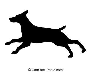 Shepherd run. Dog silhouette. Vector black icon isolated on white