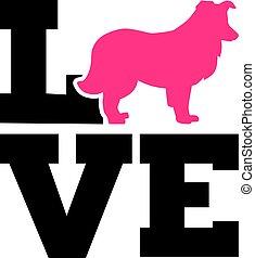 Shetland Sheepdog love word with silhouette