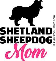 Shetland Sheepdog mom silhouette