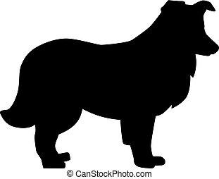 Shetland Sheepdog silhouette black