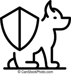 Shield dog protect icon, outline style
