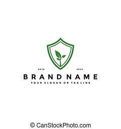 shield leaf logo design vector
